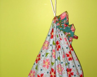 Large Laundry Bag, Drawstring Cotton Laundry Bag, Dorm Room, Flower Power.