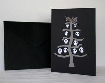 Goth Christmas Card Gray Skeleton Tree