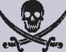 Skull and Swords Cross Stitch Pattern