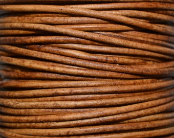 Natural Light Brown - 1.5mm Leather Cord per yard