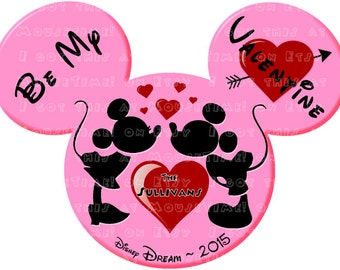IRON-ON Valentine Mickey & Minnie Ears - 5 COLOR Options! - Mouse Ears Tshirt Transfer