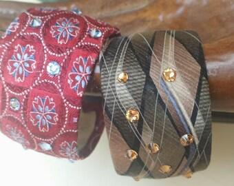 Recycled Necktie Cuff embellished with Swarovski crystals