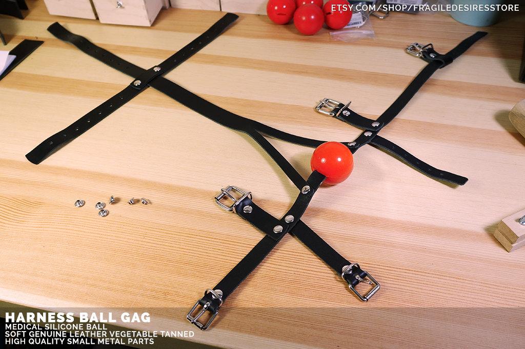 Bondage Ball Gag Harness Made In Genuine Leather Unisex-7894