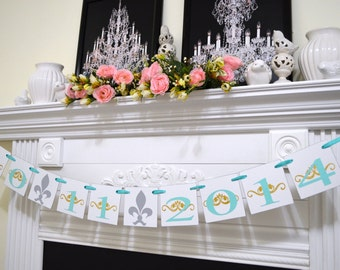 Save the date banner, Bridal shower date banner, wedding date banner, save the date garland, Engagement Photo Prop - fleur-de-lis