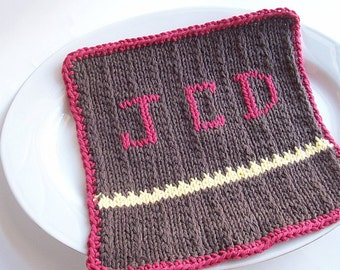 Knit Washcloth-MONOGRAMMED-Gifts for Him-Custom Washcloth-Gifts for Her-Personalized w/One Letter Included-Additional Letters available