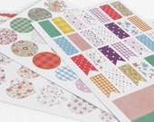 Fabric Style Colorful Scrapbooking Stickers, Hearts, Flags, Circles, Rectangular Life Planner Stickers, Page Flags in Stripes, Dots, Floral