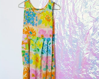 Vintage Neon Floral Print Dress