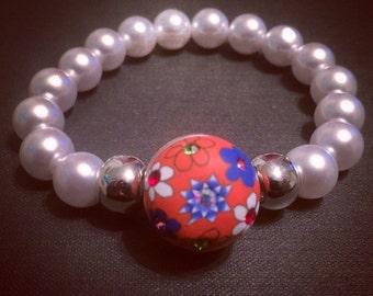 Orange White & Blue FIMO Flowers Snap Bracelet