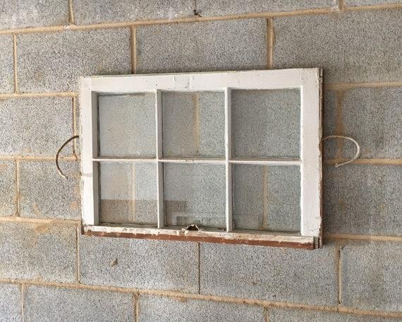 vintage 6 pane window frame white 27 x 20 rustic. Black Bedroom Furniture Sets. Home Design Ideas