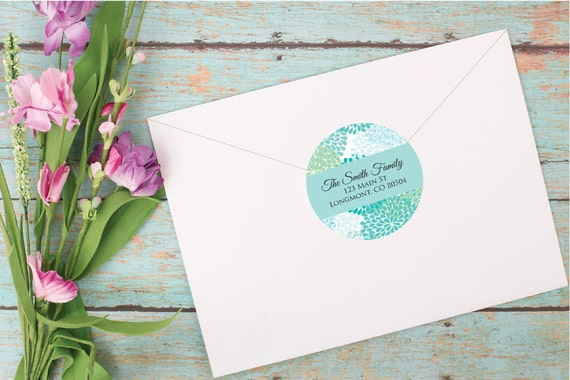 mum minty blue address labels floral address sticker personalized
