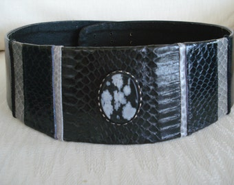 Black Belt with Snakeskin and Snowflake Osidian