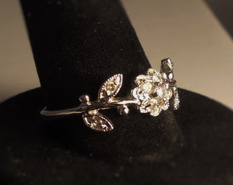 Vintage Sterling Silver Flower Ring with CZ 925 Free Shipping