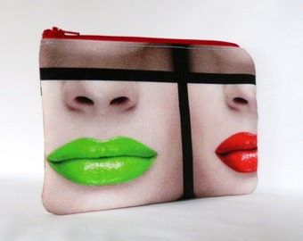 Make-Up Bag, Zipper Pouch, Colourful Lips Design Zipper Pouch, Cosmetics Bag, Zipper Clutch