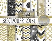 Gold Black New Year's Eve Digital Paper Blog background for Invitations Elegant event chevron glitter gold foil bokeh labels gift tags