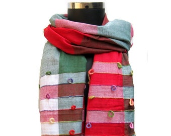 Multicolored scarf/ stole/ check scarf/ embroidered scarf / red scarf/ cotton scarf/  gift ideas.