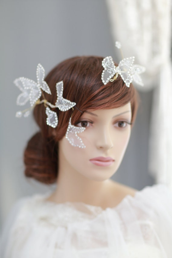 wedding silk flower halo with swarovski crystals butterflies. Black Bedroom Furniture Sets. Home Design Ideas