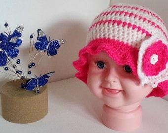 Baby Crochet Hat ~ 3-6 months ~ Double Crochet Flower Trim