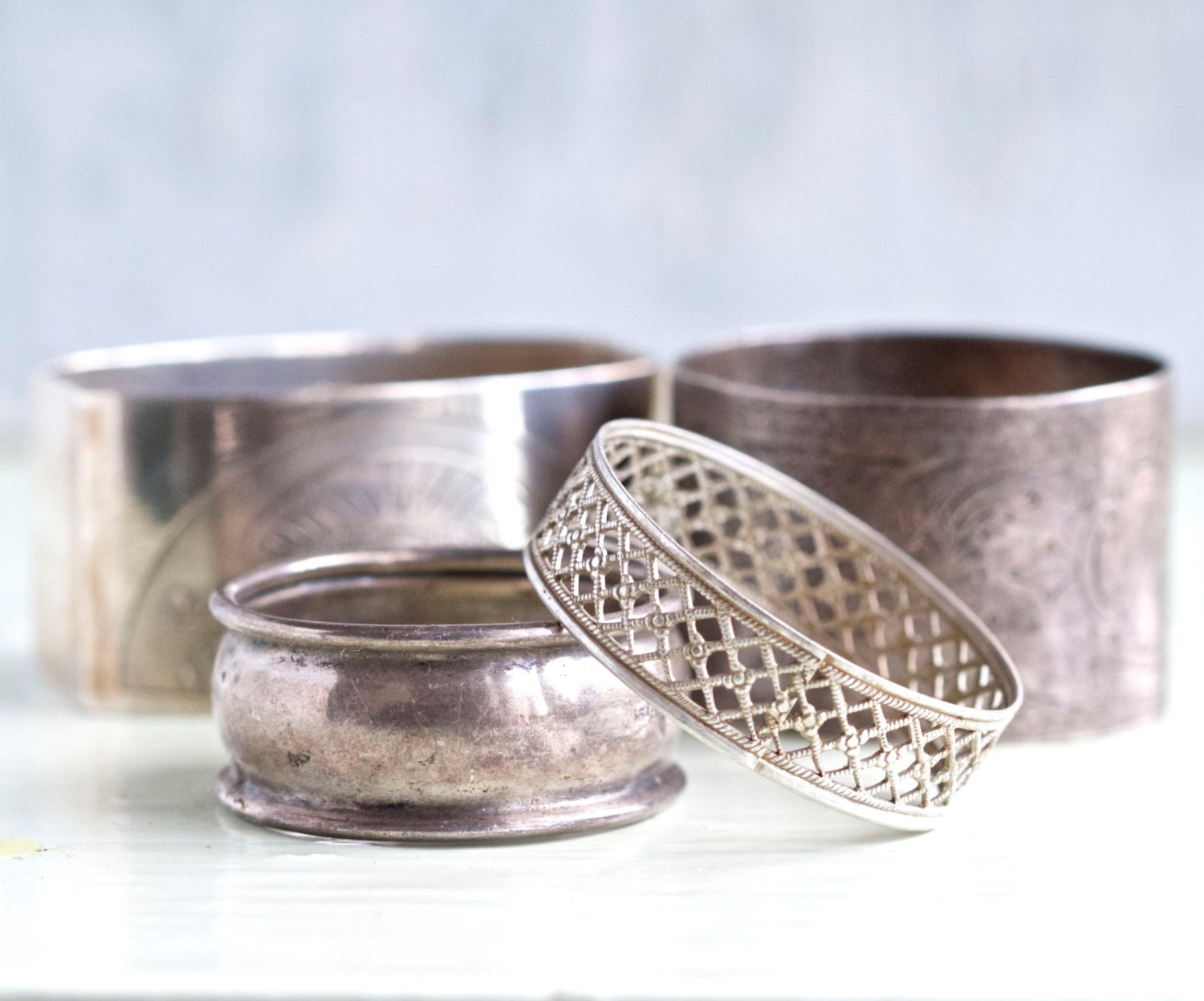 antique silver plated napkin rings assorted collection of 4