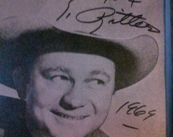 Tex Ritter Autographed Photo 1969  Celebrity Actor Signed Photo Country Western Cowboy Singer Photo in Frame.