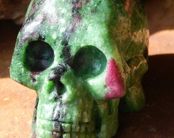 3 inch Ruby is Zoisite Crystal Skull