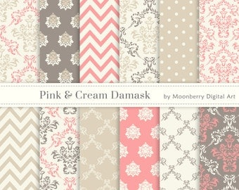 Pink & Cream Damask Digital Papers. Damask Digital Papers. Pink Damask Digital Papers. 12 images. Commercial Use