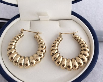14K 585 Fine Yellow Gold Shiny Twist Ribbed Hoop Earrings