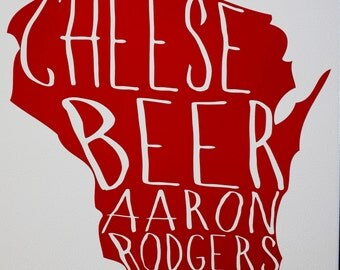 Wisconsin Beer, Cheese, Aaron Rodgers adhesive vinyl decal