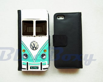 Mini Bus Mint Wallet Case - iPhone 7, iPhone 6 Case, iPhone 6s, iPhone 6 Plus, iPhone 5, iPhone 5s, iPhone 4/4s, Leather Case, Flip Case