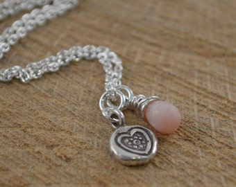 Pink Opal Sterling Silver Necklace, Hill Tribe Sterling Silver Charm, Sterling Silver Necklace, October Birthstone, Valentine Gift