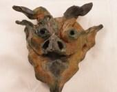 Raku Ceramic Dragon Goblin Mask