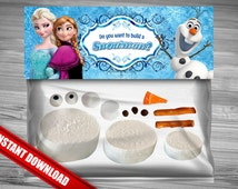Disney Frozen Favor Bag Toppers - INSTANT DOWNLOAD Do You Want To Build A Snowman Frozen Birthday Printable Olaf Elsa