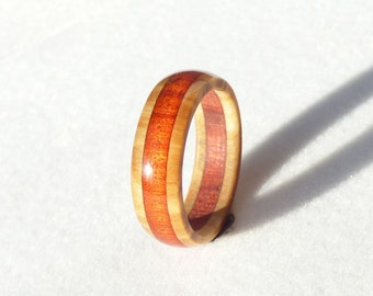 olive & red heart wood ring