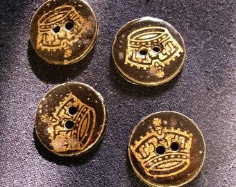4 hand made ceramic buttons - Golden Crown -  with gold ceramic decals - BUTTONHABIT