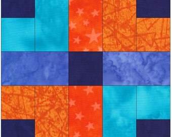 Plaid Fab Paper Piece Foundation Quilting Block Pattern