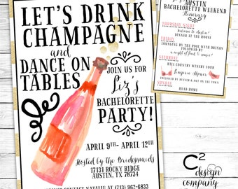 Let's Drink Champagne & Dance on Tables Invitation with Itinerary