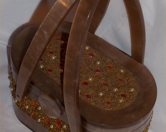 Fab JEWELED WILARDY 1950s Lucite Purse ~Pearls & Amber Stones Vintage Gem Plastic Bag w/ Clear Oval Mirror ~New York Style ~GREAT Shape!