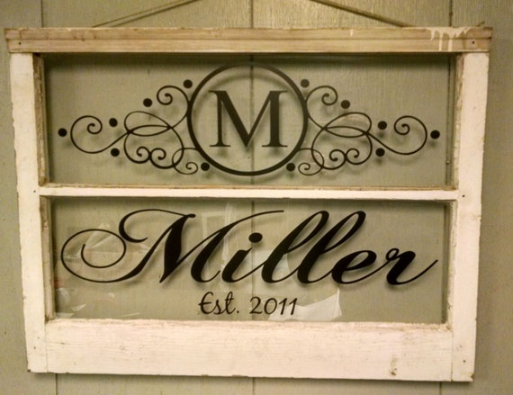 Vintage Two Pane Window Personalized Last Name Family Letter