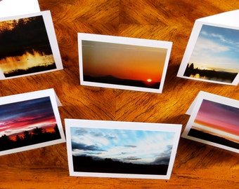 Fine Art SUNSET Landscape Photo Greeting Cards, Handmade Stationery Photography Note Cards; Sunsets Mountain Trees; Note cards boxed gift