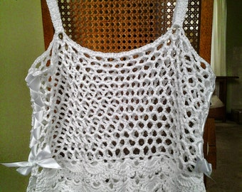 Crochet Floral Camisole in White Sparkle