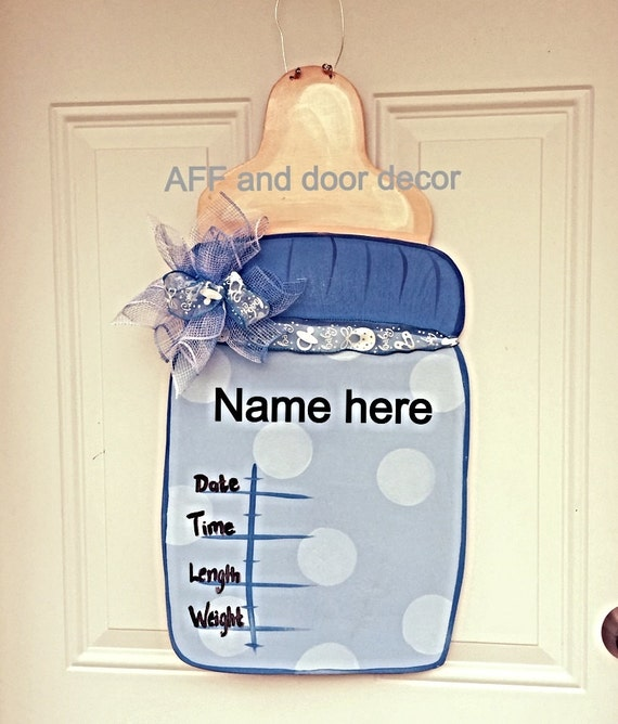 Hospital door hangerits a boy baby bottle by for Baby bottle decoration ideas