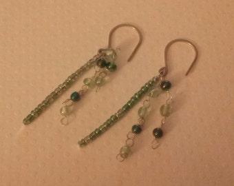 Green Seed Bead Earrings, Pierce Earrings