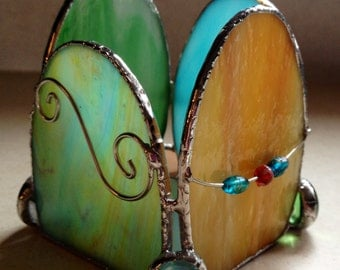 Easter Egg Candle Shelter Embellished with Wire Work, Beads, and Glass Nuggets