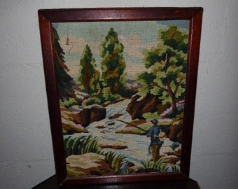 CANVAS the fisherman finished embroidered tapestry, vintage 1970, handmade