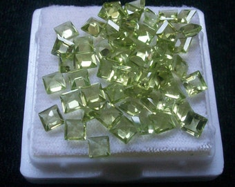 Square 4 mm Natural genuine PERIDOT square top cut faceted gemstone....