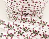 5/8 White mini roses FOE, Fold over elastic, Wholesale elastic for hair ties, Printed foldover elastic for headbands, Floral elastic