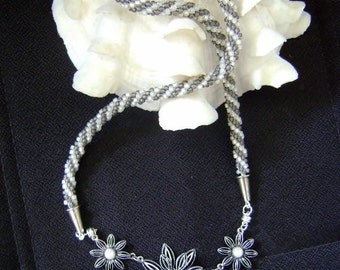Shades of Gray Sunflowers Necklace.