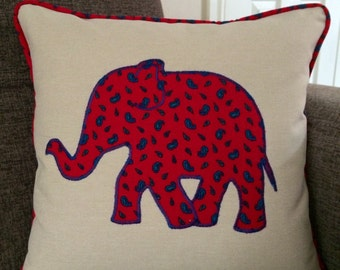 Piped Appliquéd Elephant cushion