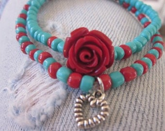 wrap bracelet bohemian turquoise red rose heart charm bracelet dainty stretch stacking yoga bracelets seed bead bracelets valentines gift