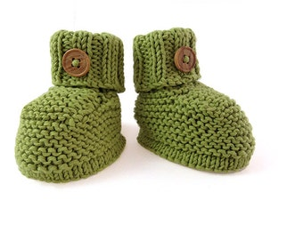 Hand knitted - baby booties, baby bootees in green