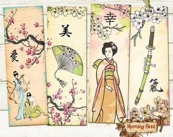 Printable bookmark Set Of 4 Printable, Oriental Geisha bookmarks 2 x 6 inch, DIY Gift Japan Samurai Tags, Instant printables